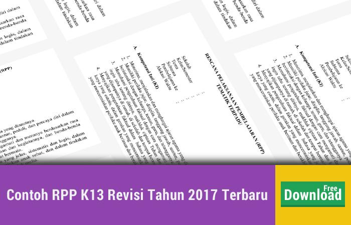 Contoh RPP K13 Revisi Tahun 2017 Terbaru