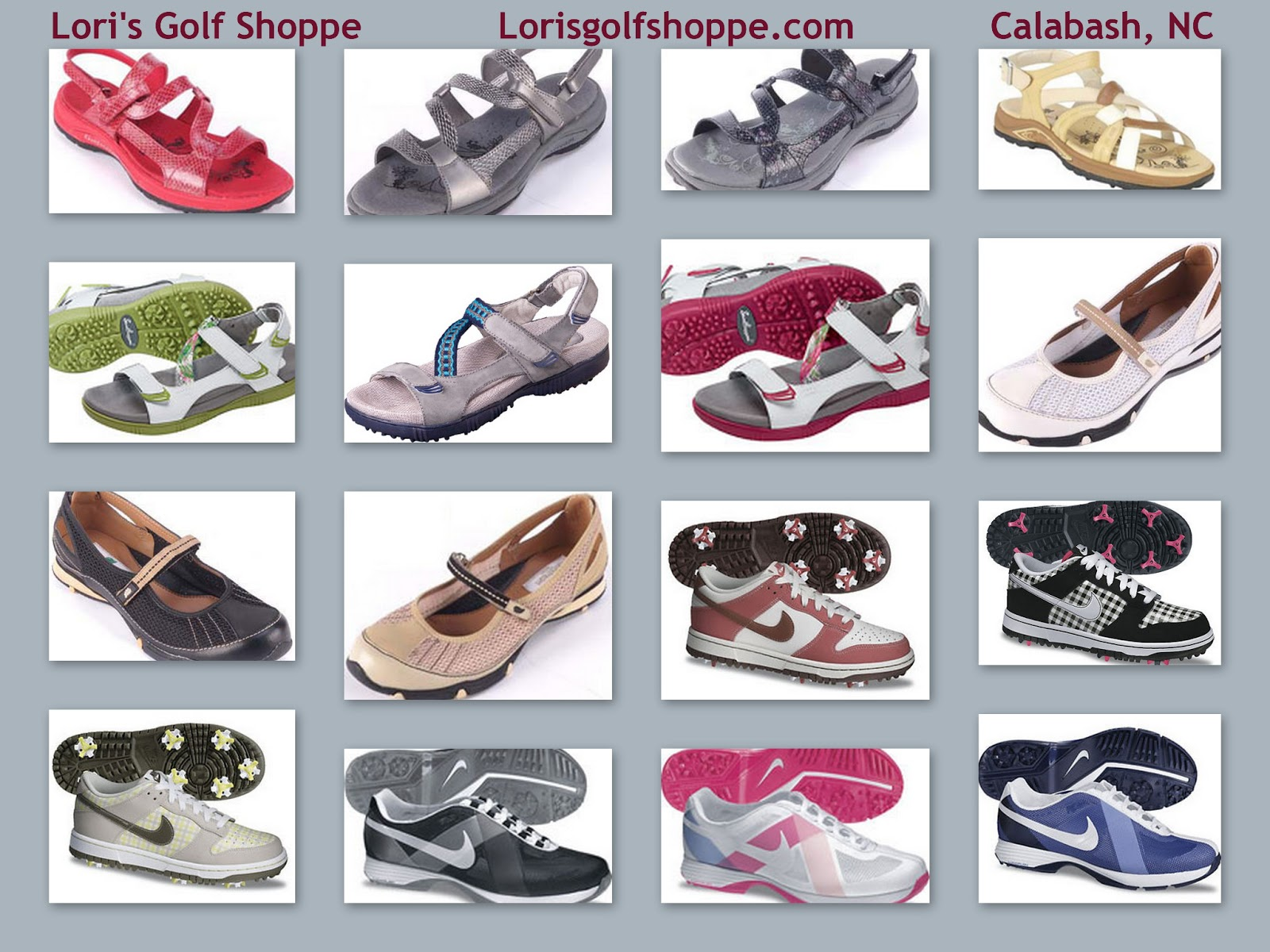"5f6a77ef7a5 There is nothing like playing 18 holes in a great pair of golf shoes!  Pictured here are assorted styles for the ""Diva"" in you from Nike"