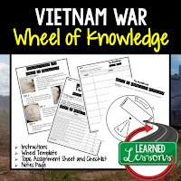 Vietnam War,  Progressive Era, American History Activity, American History Interactive Notebook, American History Wheel of Knowledge