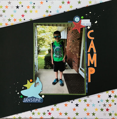 1 page Summer Camp Scrapbook Layout using Bella Blvd Max scrapbook supplies