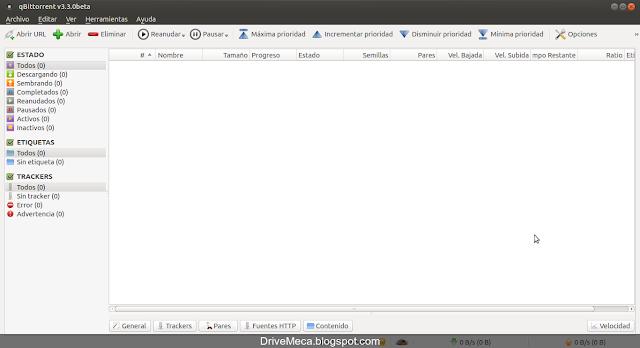 La ventana principal de qbittorrent cuenta con muchas opciones