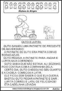 Leitura para alfabetização menino e cachorro