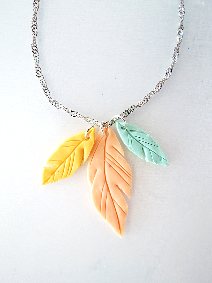 How to make feather pendant with polymer clay