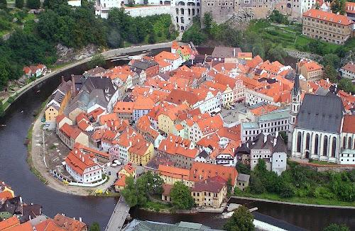 Cesky Krumlov aerial view