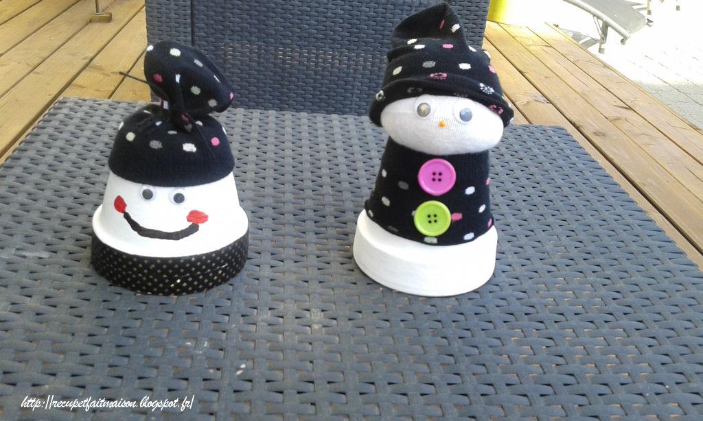 r cup et fait maison des id es r cup et d co diy les pots de terre en bonhomme de neige. Black Bedroom Furniture Sets. Home Design Ideas