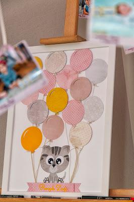 na podpisy gości, na życzenia na roczek, plakat z kotkiem, tablica dla gości, ozdoby na roczek, pamiątkowa tablica na urodziny,