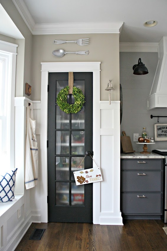 Black glass pantry door kitchen