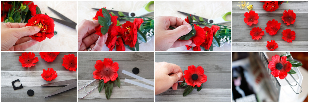 Creativity unmasked quickie poppy craft artificial flower hack you will need an artificial flower wire cutters or sturdy scissors felt and glue mightylinksfo