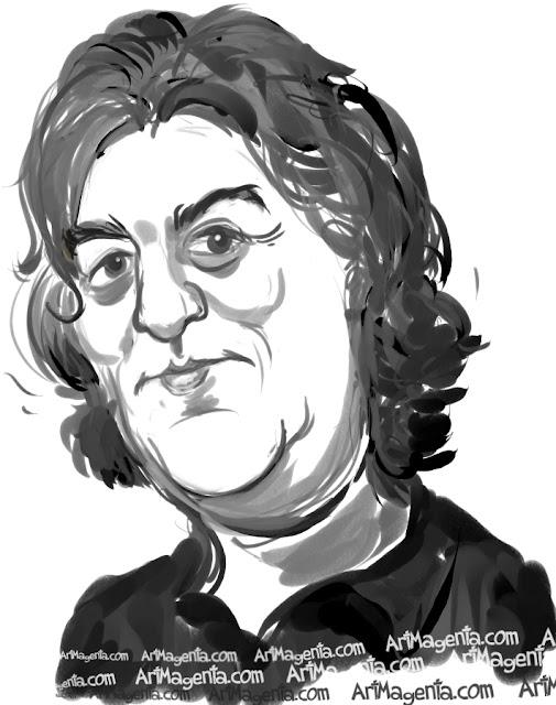 James May caricature cartoon. Portrait drawing by caricaturist Artmagenta