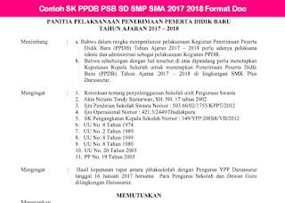 Contoh SK Panitia PPDB SD SMP SMA 2017 2018 Format Doc