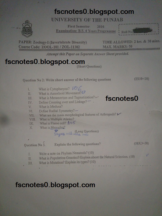 BS (Hons) Chemistry Past Papers Semester 1 Zoology I (Invertebrate Diversity) fscnotes0 Asad Hussain 2