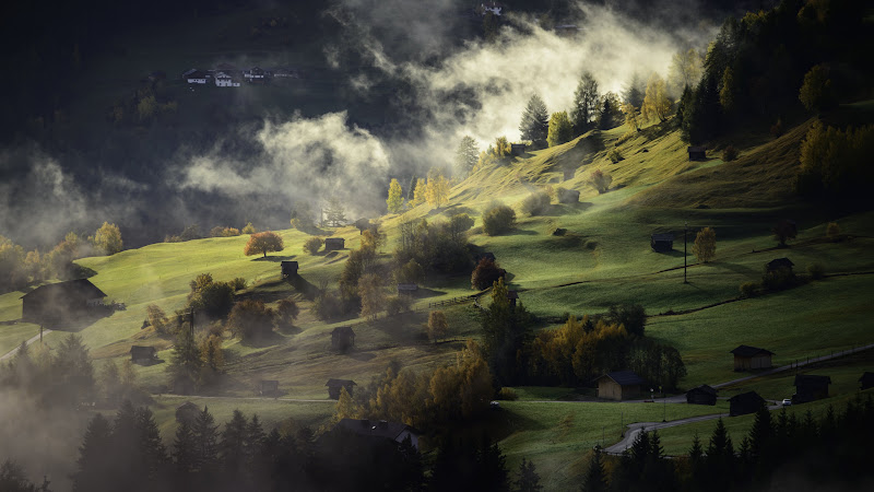Fog, landscape and a village HD