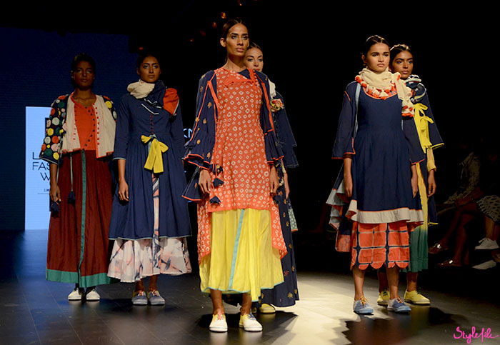 The final walk by models on the ramp in tie-dye, ombre sneakers and layers at [Ka][Sha] by Karishma Shahani