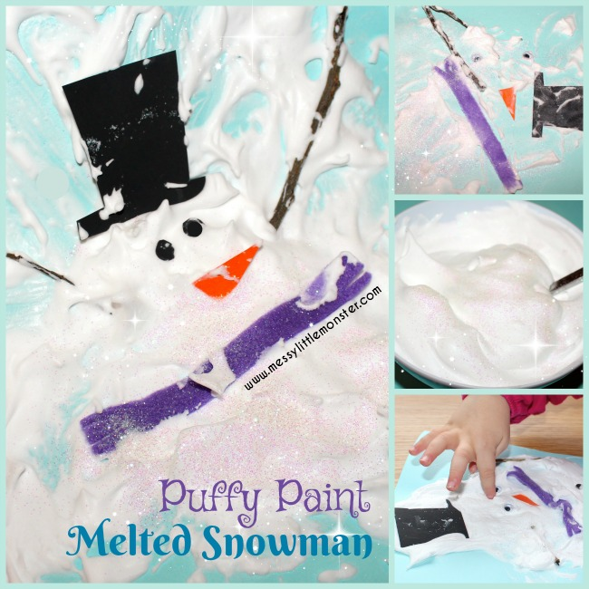 Puffy Paint Melted Snowman Messy Little Monster