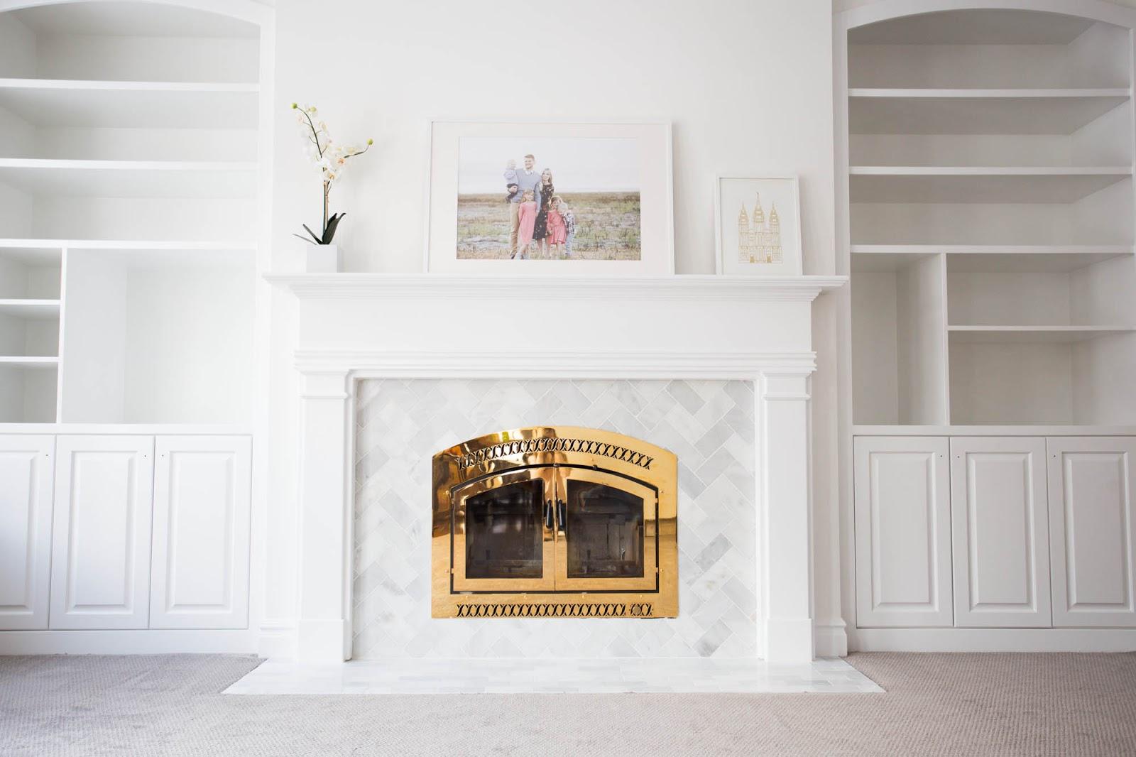 diy marble tile fireplace renovation