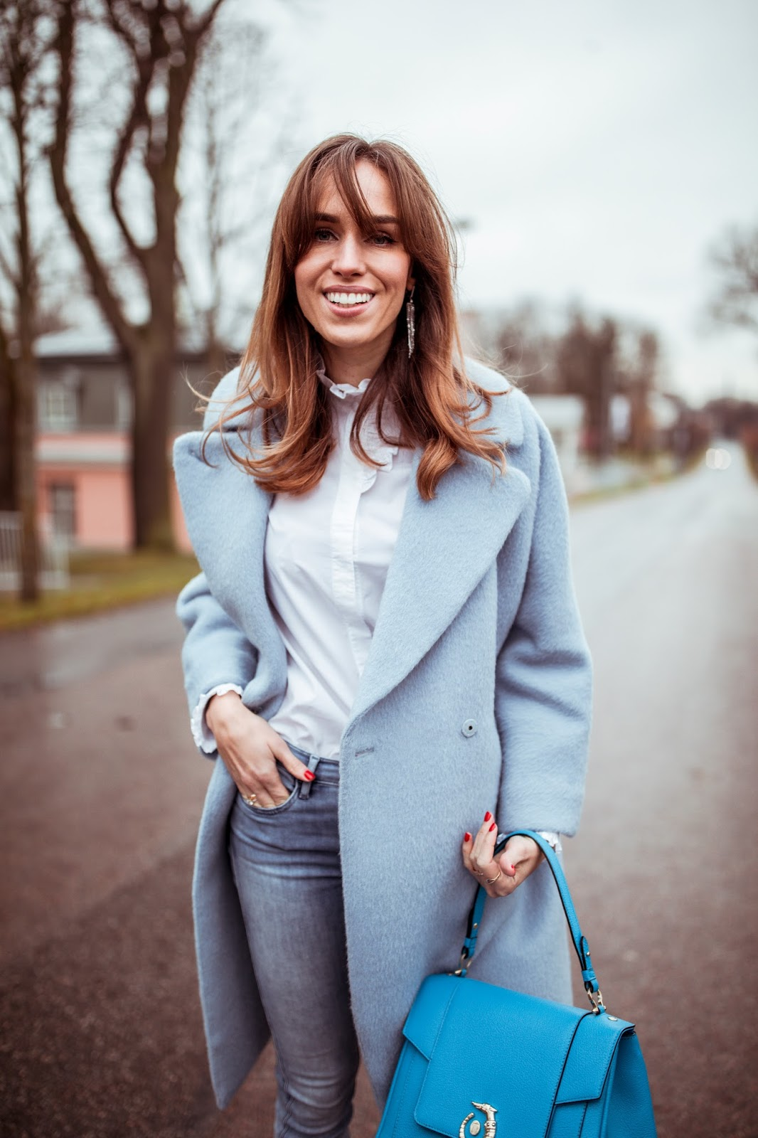 blue max mara cashmere coat outfit