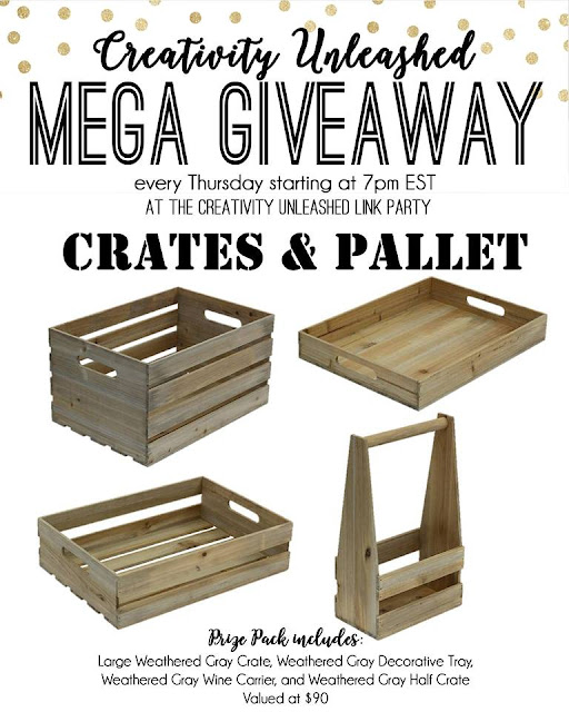 Crates and Pallet Giveaway and Creativity Unleashed Link Party #190 MyLove2Create