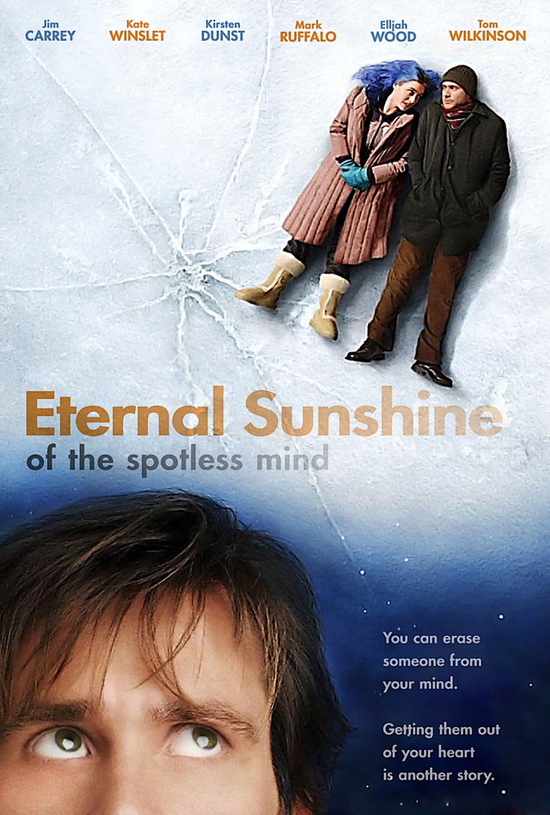 The theatrical release poster for Eternal Sunshine of the Spotless Mind. The image is a photomontage of two photographs. The main photograph (which covers the entire poster) depicts the two main characters lying on a frozen sheet of ice in the top-right corner. In the bottom-left corner the face of Jim Carrey (who plays one of the main characters) is overlayed and he is looking towards the top-right corner of the image.