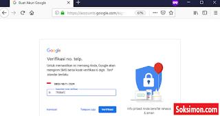 Memasukkan kode verifikasi di gmail