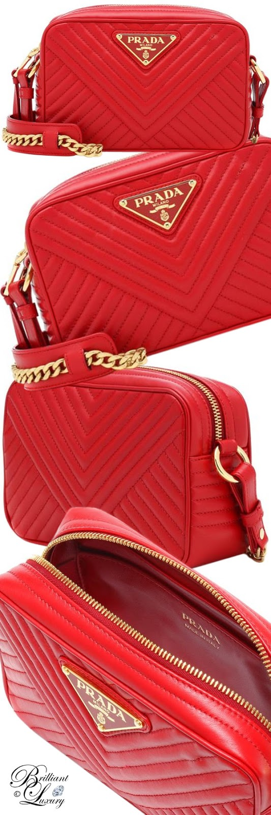 Brilliant Luxury ♦ PANTONE Fashion Color SS 2019 ~ Fiesta ♦ Prada Diagramme leather shoulder bag #red