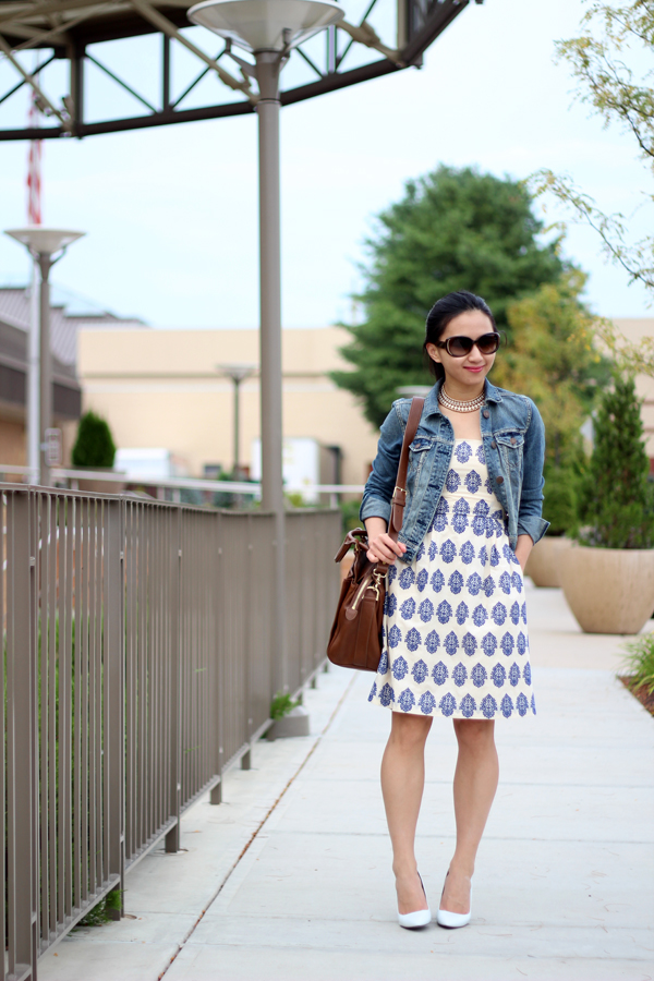 Summer Dress and Denim Jacket (Featuring J. Crew Filigree-embroidered Strapless Beach Dress)