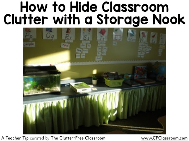 Keep your classroom looking clutter-free by creating a storage nook to decrease visual clutter and student distractions.