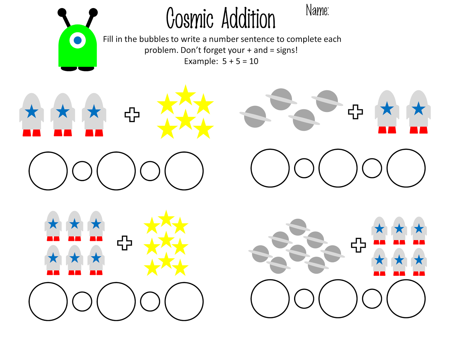 Papercharm 1st Grade Cosmic Addition Practice