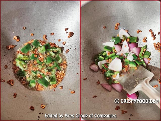 Add cubed capsicum and onion - Veg Manchurian recipe