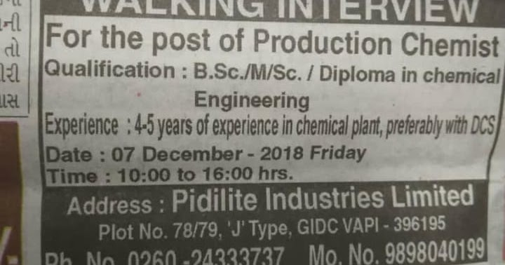 Nabl Guidelines Pidilite Industries Ltd Walk In Interview On 7th Dec For Production Chemist Gidc Vapi