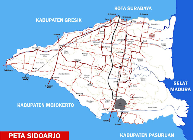 Sidoarjo yakni sebuah kabupaten yang masuk dalam wilayah pemerintahan Provinsi Jawa Timu Peta Sidoarjo Lengkap 18 Kecamatan
