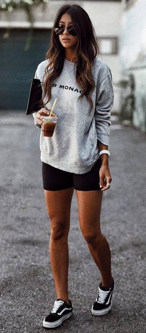 ootd_sweatshirt + shorts + bag + sneakers