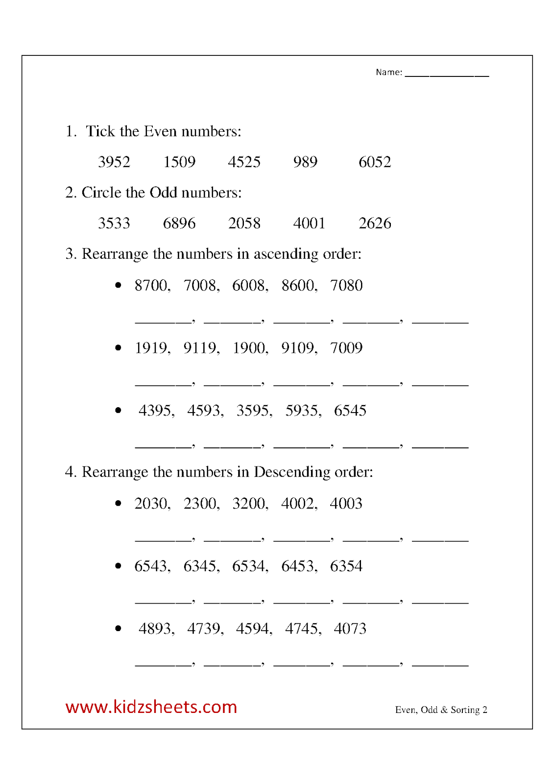 Kidz Worksheets Third Grade Even Odd Amp Sorting Worksheet2