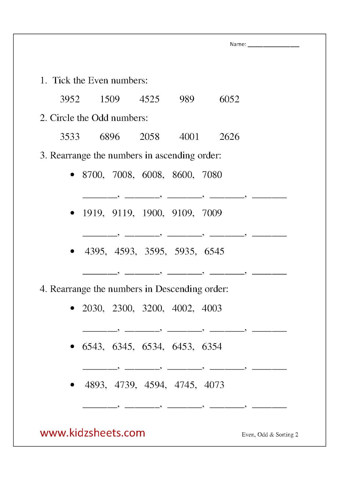 Kidz Worksheets Third Grade Even Odd Amp Sorting Worksheet2