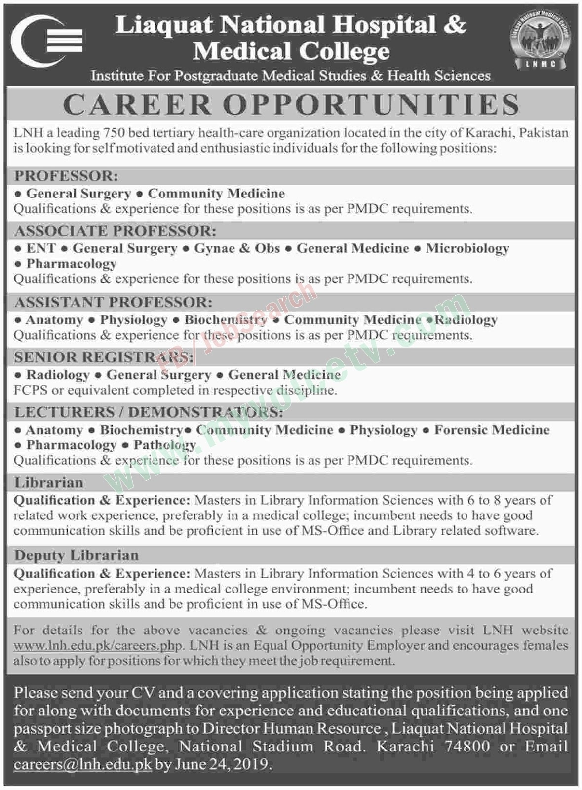 ➨ #Jobs - #Career_Opportunities - Liaquat National Hospital Karachi Job... Last date is 24 June 19