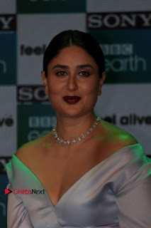 Bollywood Actress Kareena Kapoor Stills in Beautiful Silk Long Dress at Sony BBC Earth New Channel Launch  0002.jpg
