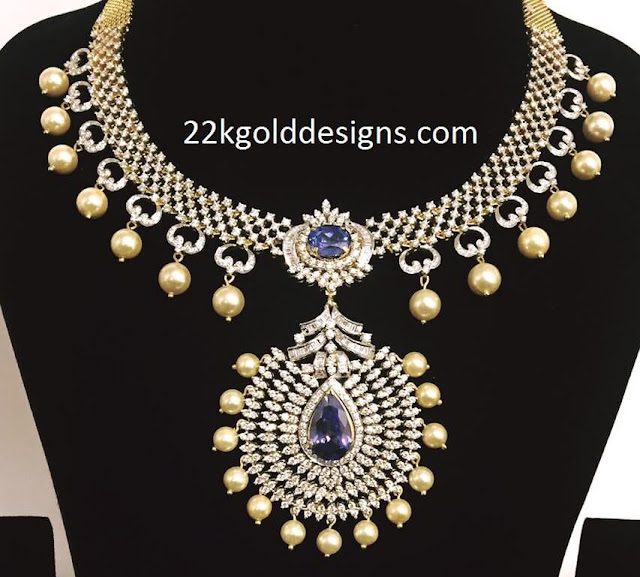 Sapphire Diamond Necklace with Pearls