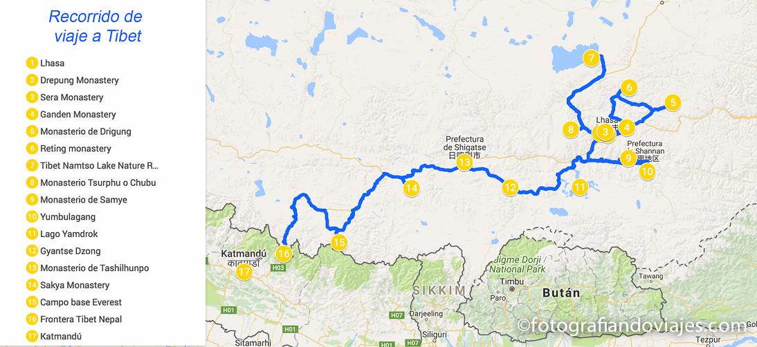 Recorrido viaje a Tibet