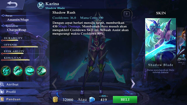 Karina, Jenis Hero Dalam Game Mobile Legends