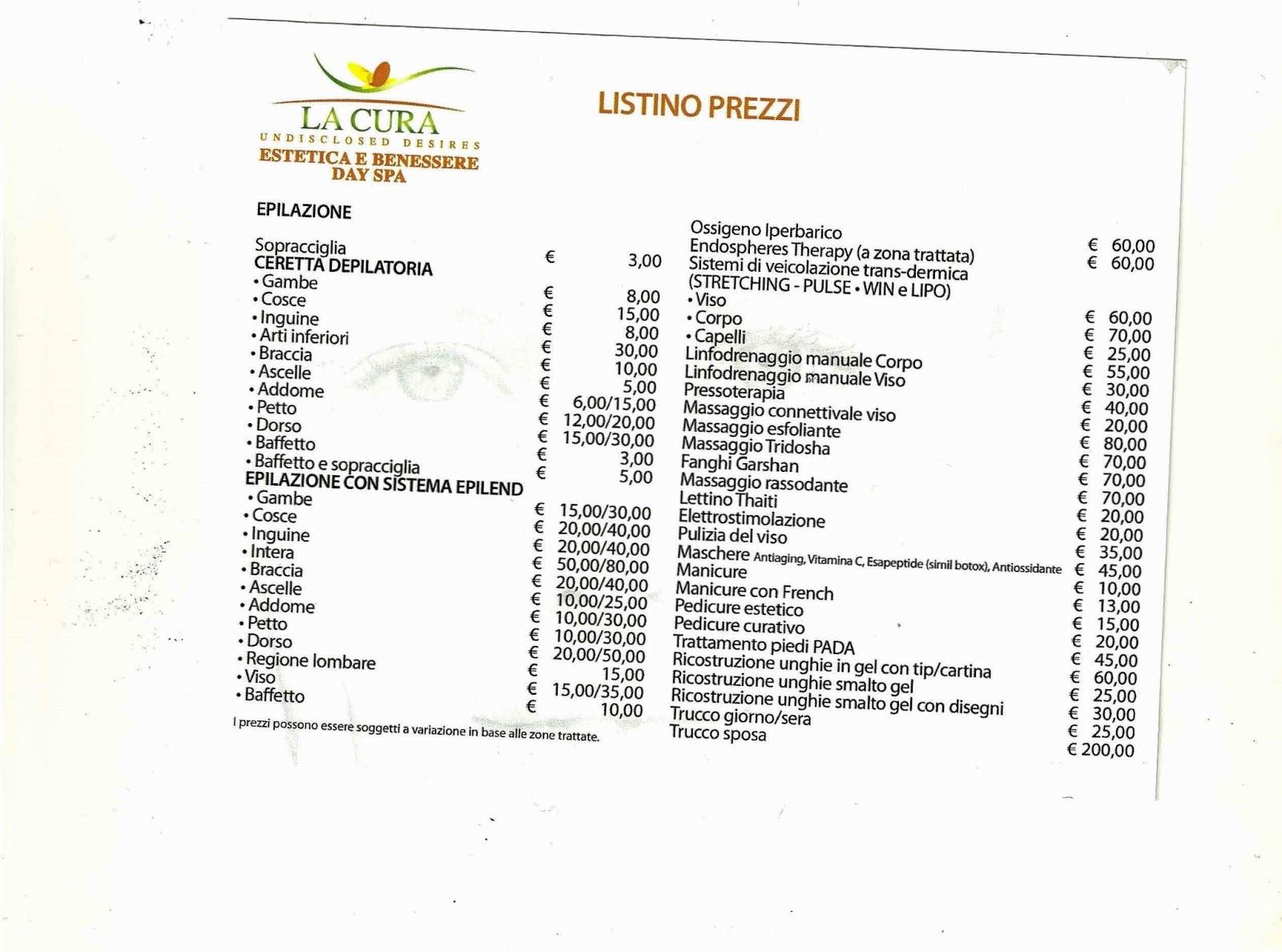modello listino prezzi bar da stampare