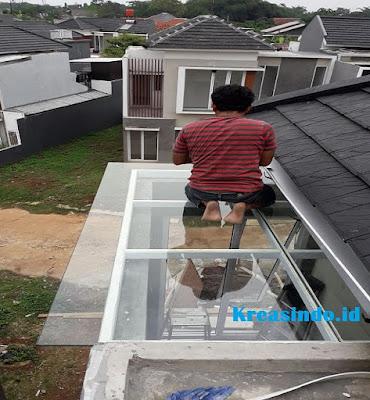 Canopy Besi Minimalis atap Kaca Tempered pesanan Bpk Aan di GDC Depok