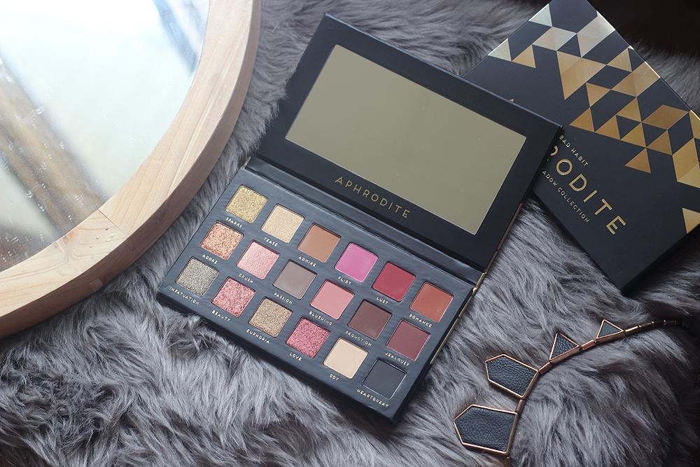 XO, Noelle Bad Habit Beauty Aphrodite Palette Swatches Review HUSH app HUDA Beauty