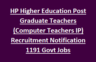 HP Higher Education Post Graduate Teachers (Computer Teachers IP) Recruitment 1191 Govt Jobs