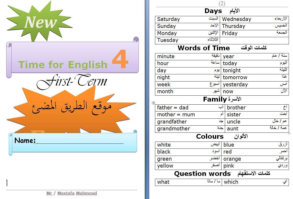 حمل المراجعة النهائية ونماذج امتحانات اللغة الانجليزية للصف الرابع الابتدائي الترم الاول