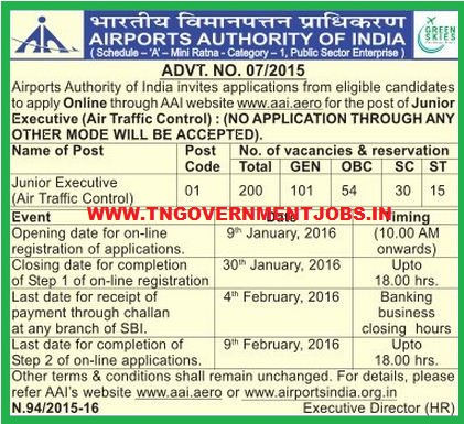 Applications are invited for Junior Executive Air Traffic Control Post in AAI (www.tngovernmentjobs.in)