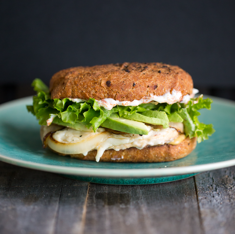 Vegan Dijon Chicken Sandwich with Cheese and Avocado