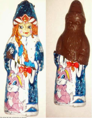 Schokoladen Weihnachtsmann -frau witziger Produkt Test