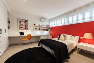 Dormitorio juvenil gris rojo