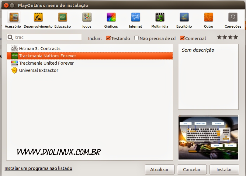 Instalando TrackMania pelo Play On Linux
