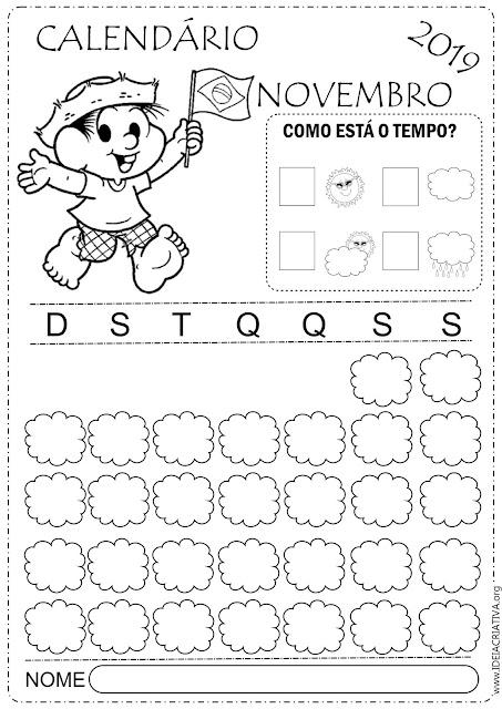 Calendários escolares mês de Novembro para imprimir Turma da Mônica