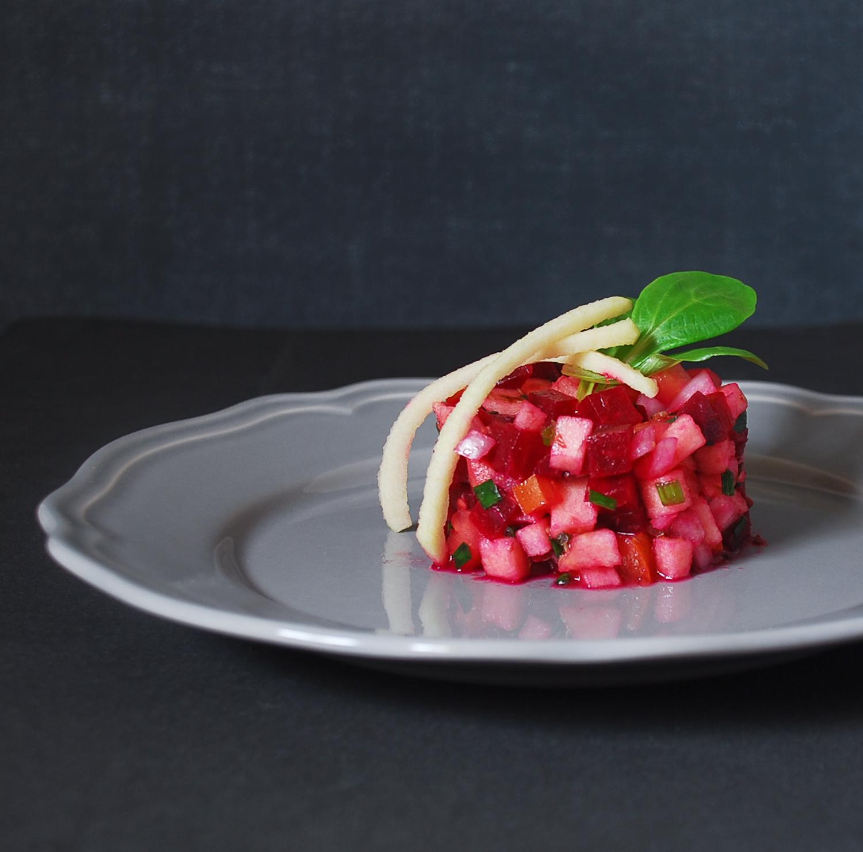 Tartar de remolacha y manzana